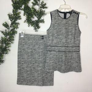 Ann Taylor White & Black Tweed 2 Piece Skirt Set